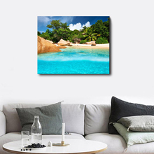 Laeacco Tropical Palm Tree Beach Wall Art Posters and Prints Nordic Paintings in Canvas Living Room Home Decor