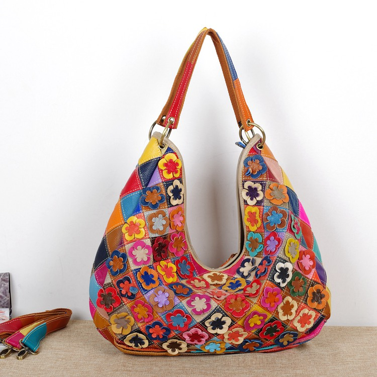 ФОТО Classical luxury lady's hand florals bag women genuine leather large hobo bag cross body bags for wholesale price