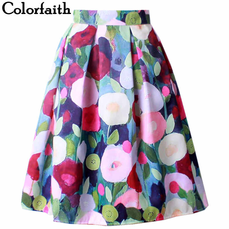 New Flared Satin Women Skirt Retro Ladies Elegant Fashion Floral Printed  High Waist Midi Skirt Holiday 54422424f89f