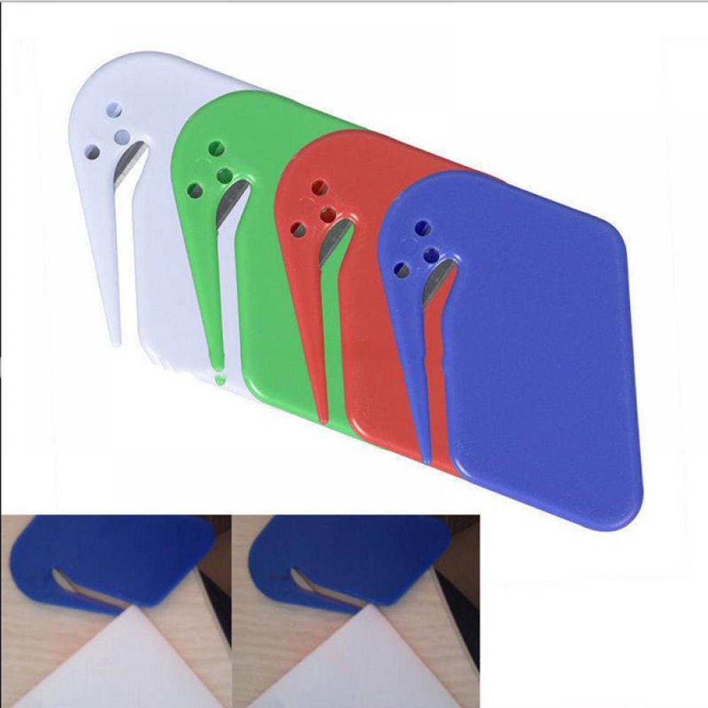 Plastic Mini Letter Opener Letter Mail Envelope Opener Safety Paper Guarded Cutter Blade Office Equipment Random Color