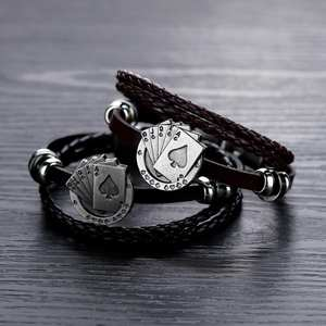 MAE Chain Bracelet Leather Rope Playing-Cards Multilayer Punk Fashion Vintage Men Decor