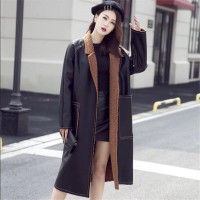 Autumn Long Leather Coat Women New Casual Loose Warm Faux Coats Female Solid Color Big Pocket