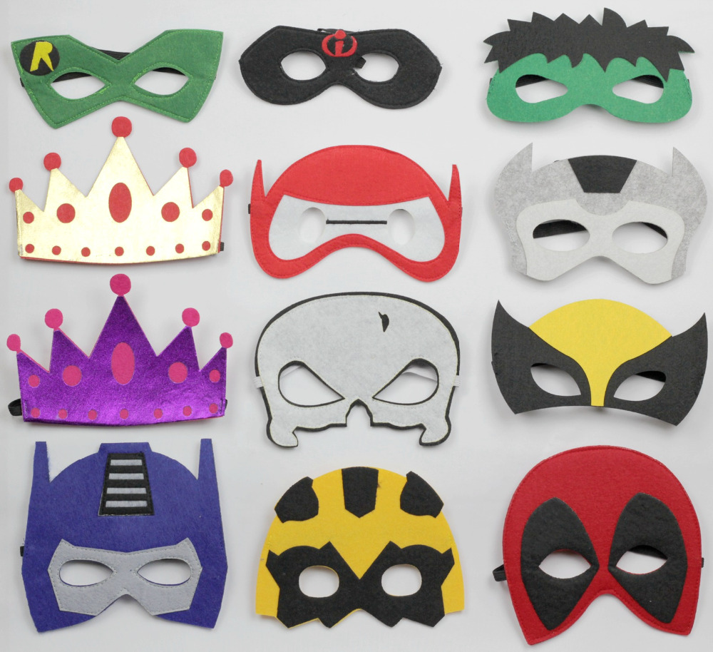 100pcs felt mask hallown mask costume mask kids costume accessories batman elsa&anna  deadpool tmnt starwars darth vader storm