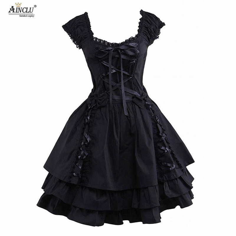 Womens Classic Lolita Dress Hot Gothic Black Layered Lace-Up Cotton Short Sleeves Cosplay Costumes lolita Dress Party Halloween