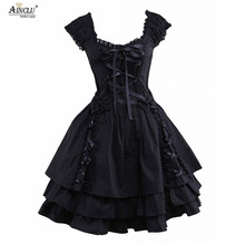 Womens Classic Lolita Kleid Hot Gothic Schwarz Layered Lace-Up Baumwolle mit kurzen Ärmeln Cosplay Kostüme Lolita Kleid Party Halloween