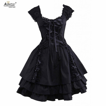 Womens Classic Lolita Dress Hot Gothic Black Layered Lace-Up Cotton Short Sleeves Cosplay Costumes lolita Dress Party Halloween цена 2017
