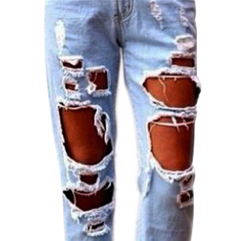 b69f284ee24 De Slim Novio Sexy Fit Pantalones Cool Mezclilla Desgastado Rasgado Algodón  Jeans Delgados Desteñidos Destruido Casual ...