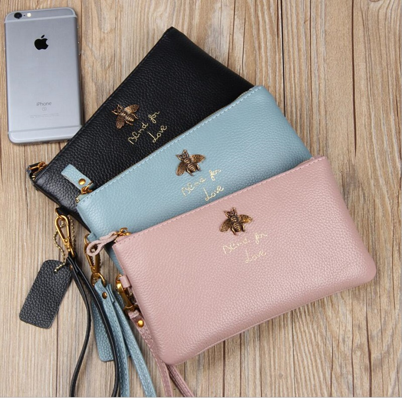 Fashion bees long Purse genuine Leather wallet female brand card holders cellphone pocket gifts for women money bag clutch все цены