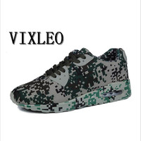 VIXLEO 2017 Men Casual Shoes Air Mesh Suede Leather Shoes Camouflage Green Lovers Lightweight Superstar Zapatillas