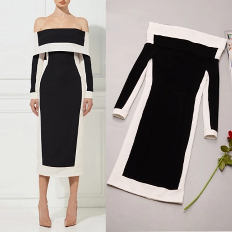 Elegant Women Autumn Design Sexy Slash Neck Off the shoulder Slim Sheath Office Lady Dress Stretched