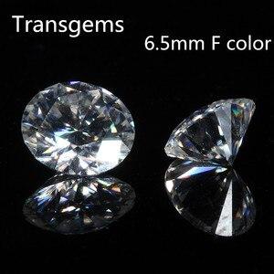 TransGem 1 pièce 6.5mm F sans couleur et clair cœurs et flèches coupe Moissanite lâche pierre équivalent diamant Carat poids 1ct