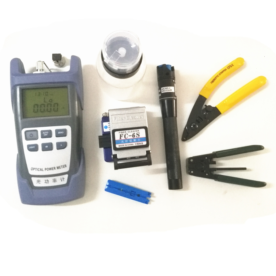 9 In 1 Fiber Optic FTTH Tool Kit with FC-6S Fiber Cleaver and Optical Power Meter 5km Visual Fault Locator