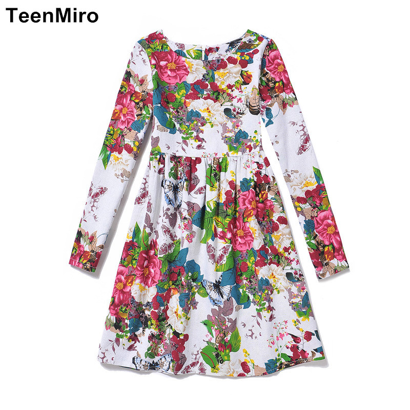 Подробнее о 2017 Summer Girls Clothes Children Flower Dress Girl Dresses Kids Floral Robe Enfant Fille Teenagers Princesse Long Sleeve Dress girls blouse dress 2017 brand summer robe princesse fille kids dresses for girls clothes 100% cotton floral children costumes