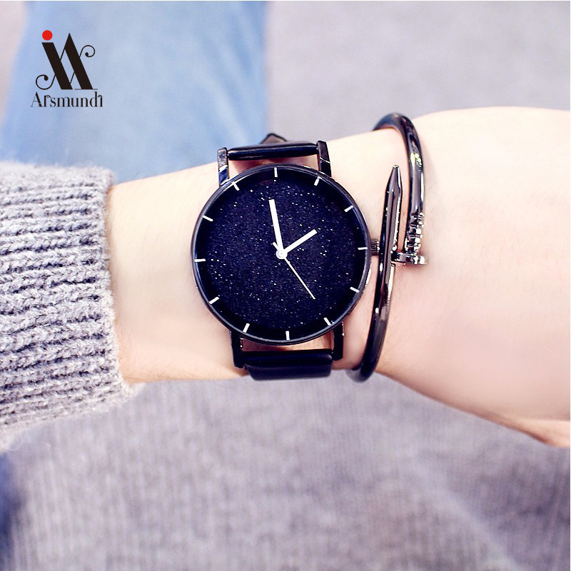 все цены на Fashion Trends Models Simple Leisure Star watch Striped Leather Quartz Wrist Watch Hip-hop Table Men And Women Watches Clock онлайн