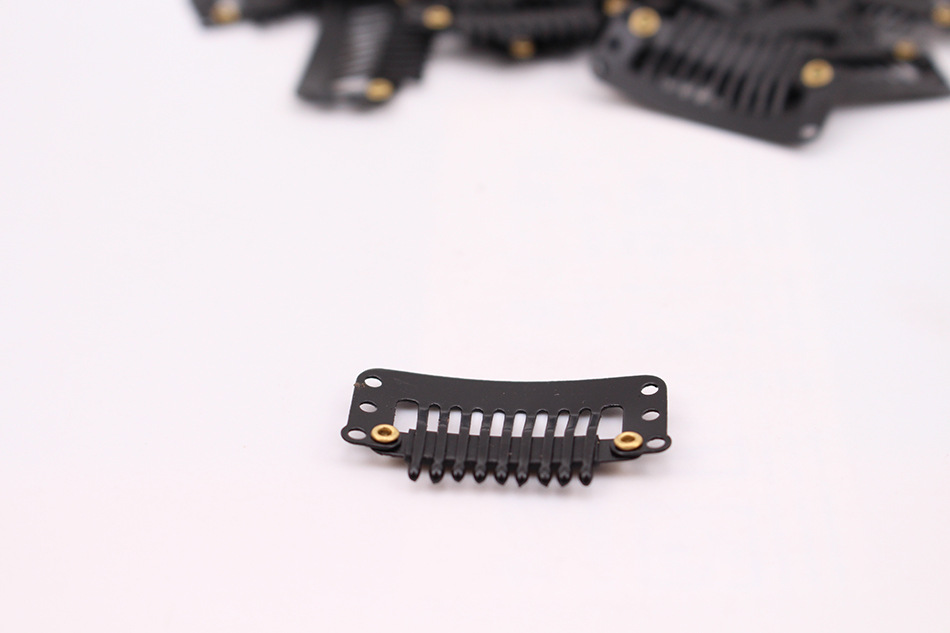 100pcs Black Hair Snap Clips for Extensions U Shape Metal Weave Toupee Wig 32MM 9 Teeth Clips Styling Tools