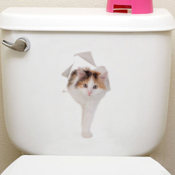 Cats 3D Wall Sticker Toilet Stickers Hole View Vivid Dogs Bathroom Home Decoration Animal Vinyl Decals Art Sticker Wall Poster 10