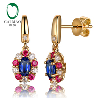 Caimao 0.69ct Blue Sapphire Earrings with Round Diamond Ruby 14k Yellow Gold Exquisite Dangle