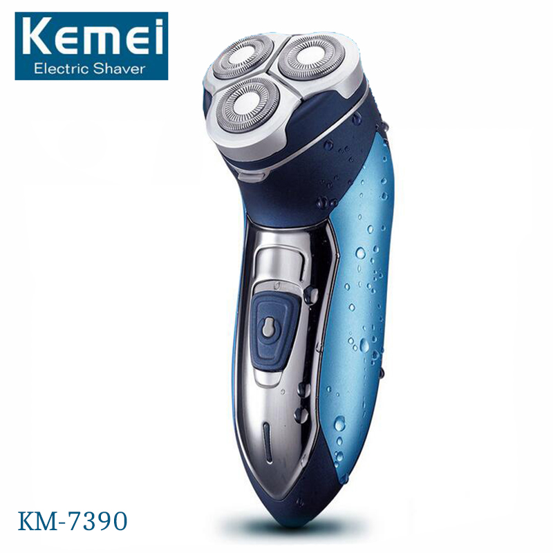 KM-7390 Electric Shaver Washable Razor Blade Rechargeable Razor Shaving Men Face Beard Care 3D Floating Hair Trimmer kairui rechargeable dual blade shaver razor w trimmer ac 220v