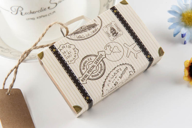 50pcs Wedding Favor Chocolate Bo Vintage Mini Suitcase Candy Box Sweet Bags For Favors And