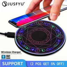 Magic Circle Wireless Charger Qi 10W Fast Charging Pad For iPhone X XS Samsung S8 S9 Plus Phone Charge Transmitter Base