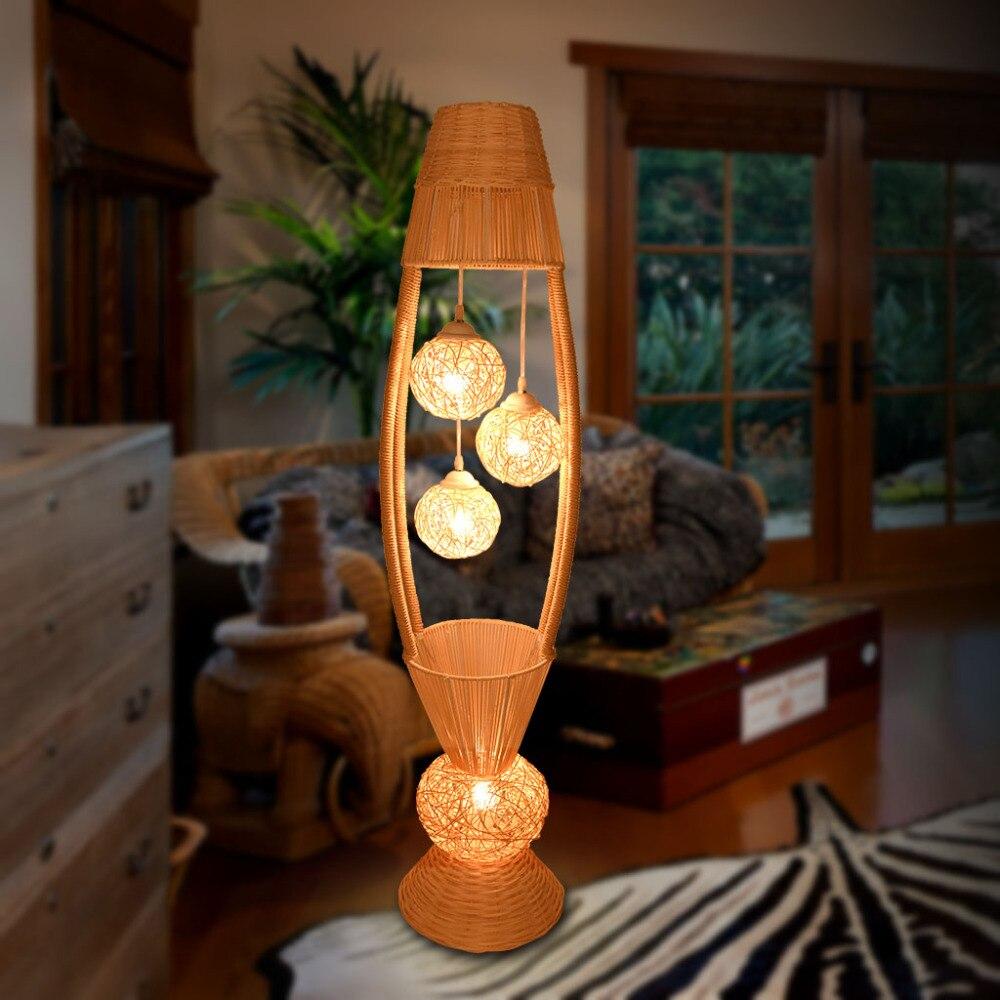 Modern Simple Southeast Asia Rattan Floor Lamp Living Room