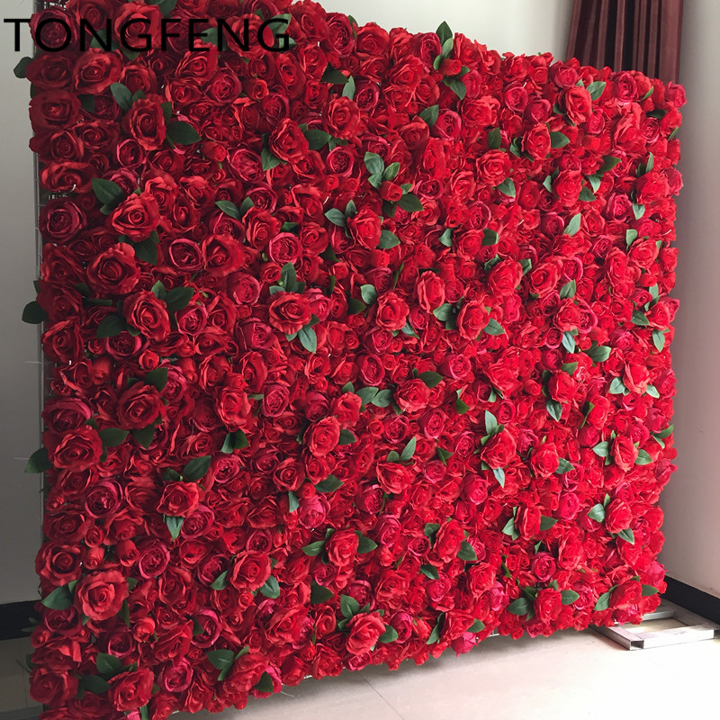 10PCS/lot Artificial silk rose flower wall wedding background decoration Flower runner stage wedding decoration RED TONGFENG-in Artificial & Dried Flowers from Home & Garden    1