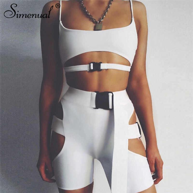 Simenual Streetwear klamra Sexy Hot dwuczęściowy ustawia kobiety Cut Out Neon kolor stroje Casual lato Biker szorty i góry zestawy 2019