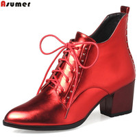 ASUMER 2018 Hot Sale New Arrive Women Boots Pointed Toe Lace Up Ladies Boots Square Heel