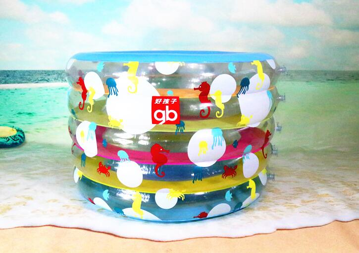 New Indoor Playground Gift Home Clear PVC Inflatable Small Swimming Pool  Ball Pool Kiddie Fish Crab Round 5 Ring Pool Bathtub
