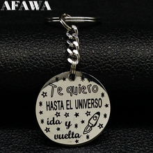 2019 New Fashion Te quiero HASTAEL UNVERSO Stainless Steel Key Ring for Women Silver Color Keychain Jewelry collares K77364B