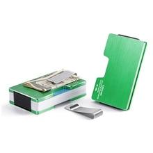 все цены на Weduoduo New Carbon Fiber Metal Credit Card Holder Rfid Wallet Blocking Portable ID Card Case Men Aluminum Clip card holder