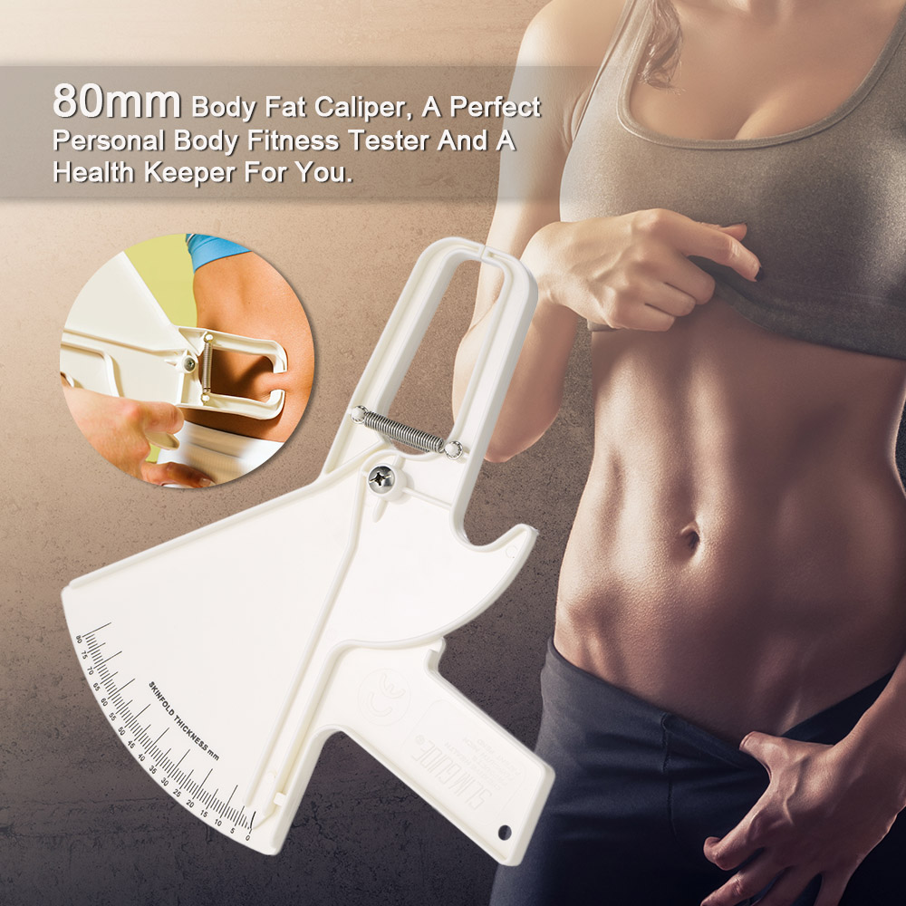 White Color 80mm Skinfold Caliper Measurement Tool Body Fat Caliper Body Fitness Tester Analyzer Measure Beauty Health Keeper