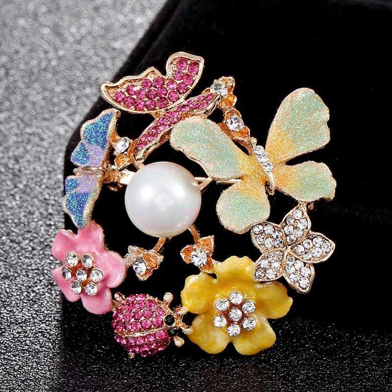 Zlxgirl Kupu-kupu Yang Indah Bros Pin untuk Wanita Aksesoris Tas Warna-warni Enamel Bunga Bros Buket Wanita Perhiasan Pengantin
