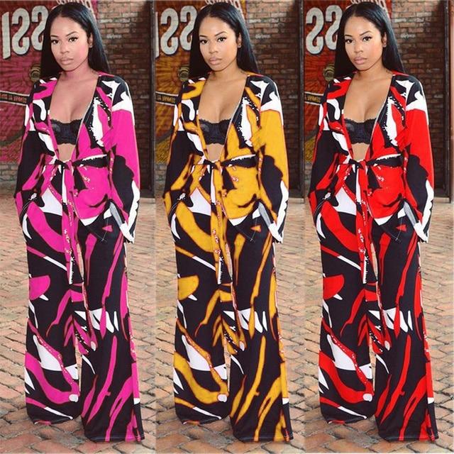 Trendy Tropical TWO PIECE SET Female Tweeted Jacket Cardigan Print Runway  2pcs outfit Wide Leg Pants cd9554af1