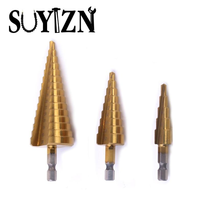 HSS Step Drill Bit Set Titanium Drill Bit Set Drill Hole 4-32mm 4-20mm 4-12mm Power Tools 1/4 Hex Shank 3 Pcs ZJ40 g 3pcs set quick change hex shank larger titanium coated m2 tool step drill bit set 71960 t