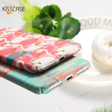 KISSCASE Matte Case For iPhone 6 7 plus Coque Flamingo Pink Plain Vintage Hard PC Animal Cover For iPhone SE 5S 5 Phone Cases