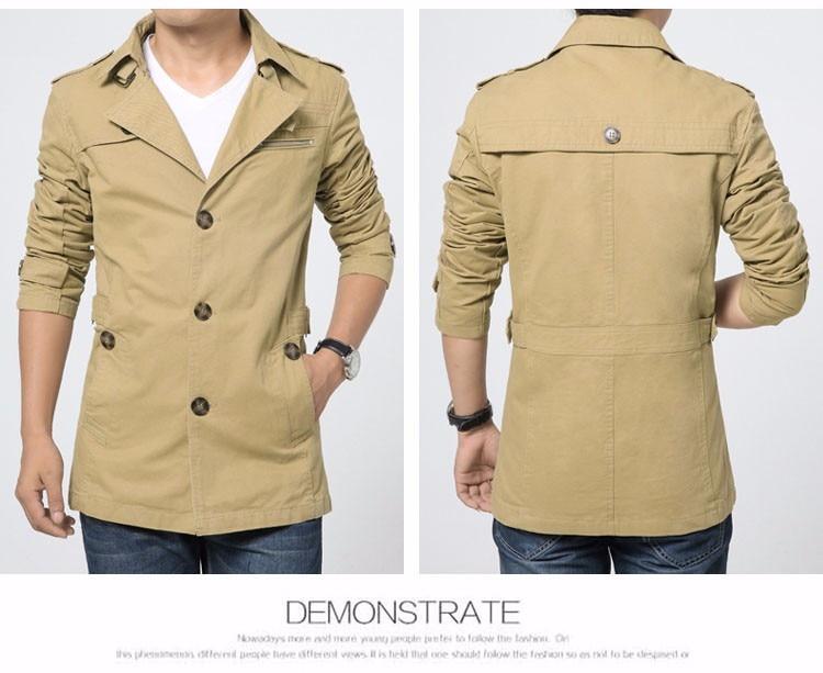 de jaqueta masculina trench coat masculino blusão outwear algodão tecido