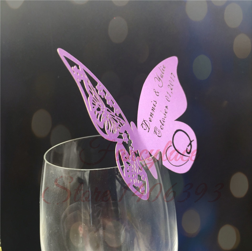 Color: White 50pcs Butterfly Place Escort Wine Glass Cup Paper Card for Wedding Party Home Decorations White Blue Pink Purple Name Cards Cards /& Invitations