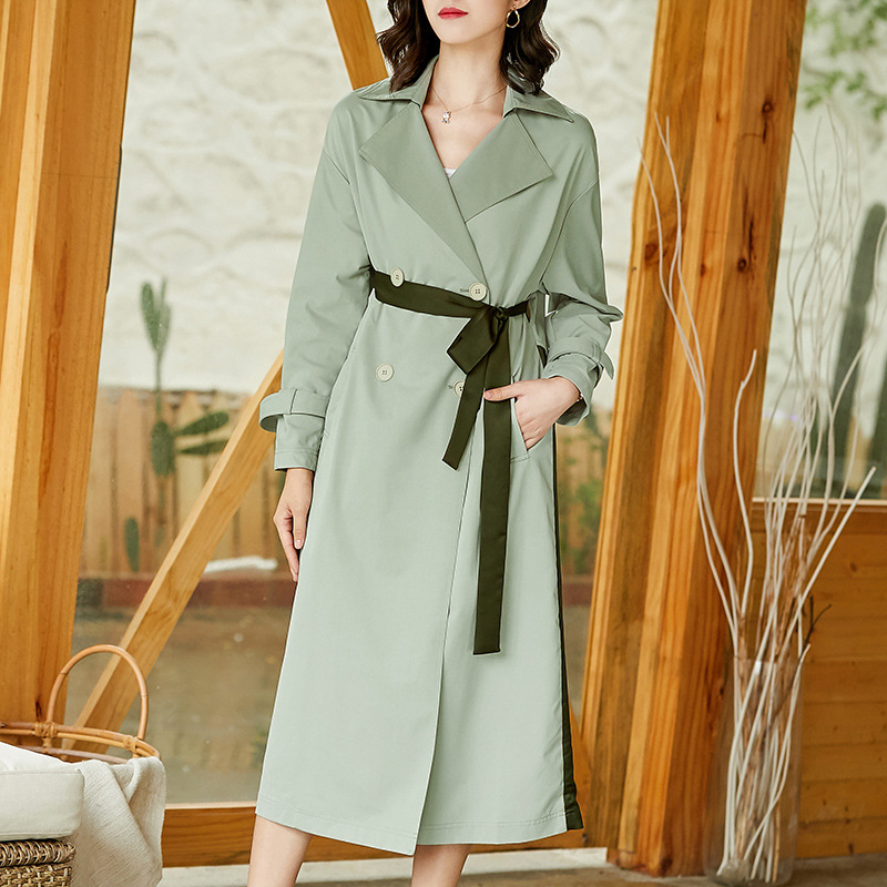 Solid patchwork turn down collar double breasted X-long   trench   coats 2018 new full sleeve women autumn   trench   coats