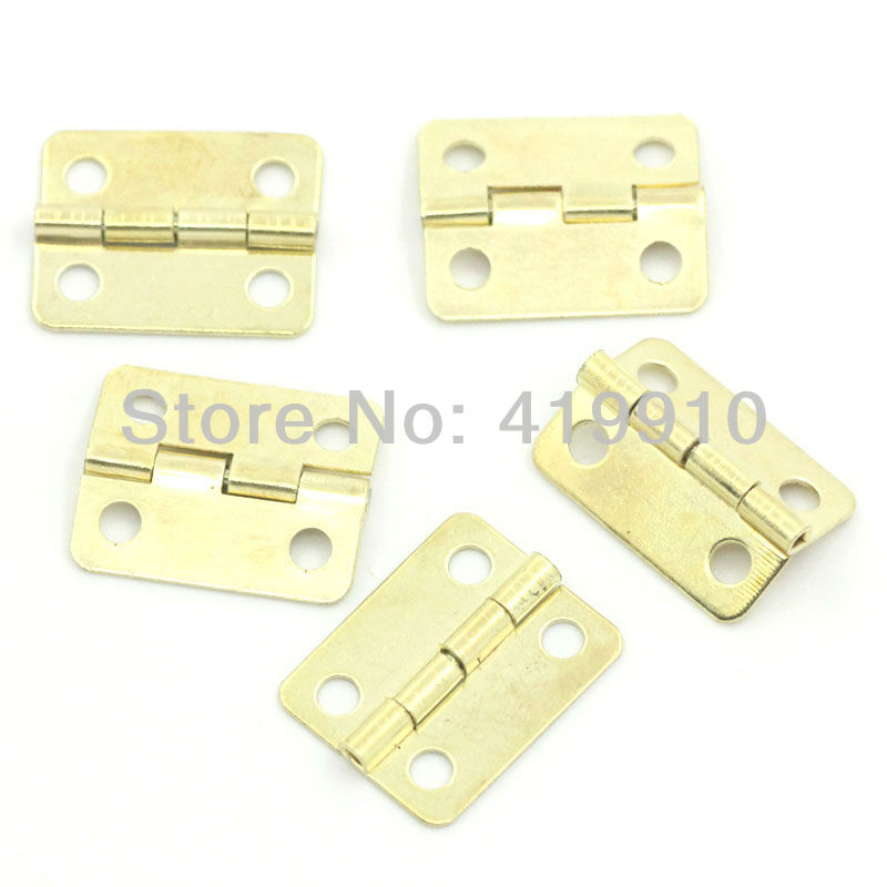 Free Shipping-50pcs Gold Plated Hardware 4 Holes DIY Box Butt Door Hinges (Not Including Screws) 19x16mm J1238