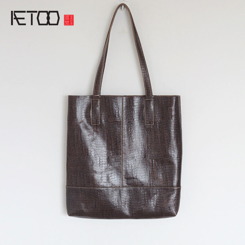 AETOO Leather bag autumn and winter new simple fashion mother bag ladies handbag head layer of leather shoulder bag