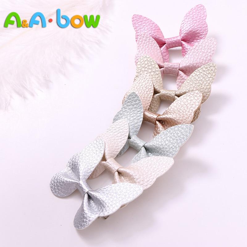 7pcs/lot Fashion Cute Babys Leather Butterfly Hairpins Solid Kawaii PU Hair Bow Hair Clips Princess Headwear Hair Accessories