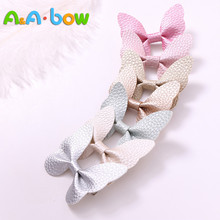7pcs/lot Fashion Cute babys Leather Butterfly Hairpins Solid Kawaii PU Hair Bow Clips Princess Headwear Accessories