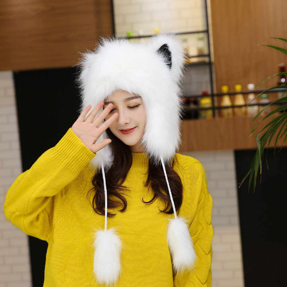 c971136f906 2019 NEW Hat Brand Women Lady Faux Fur Winter Thicken Double Layer Warm Fox  Plush Hat