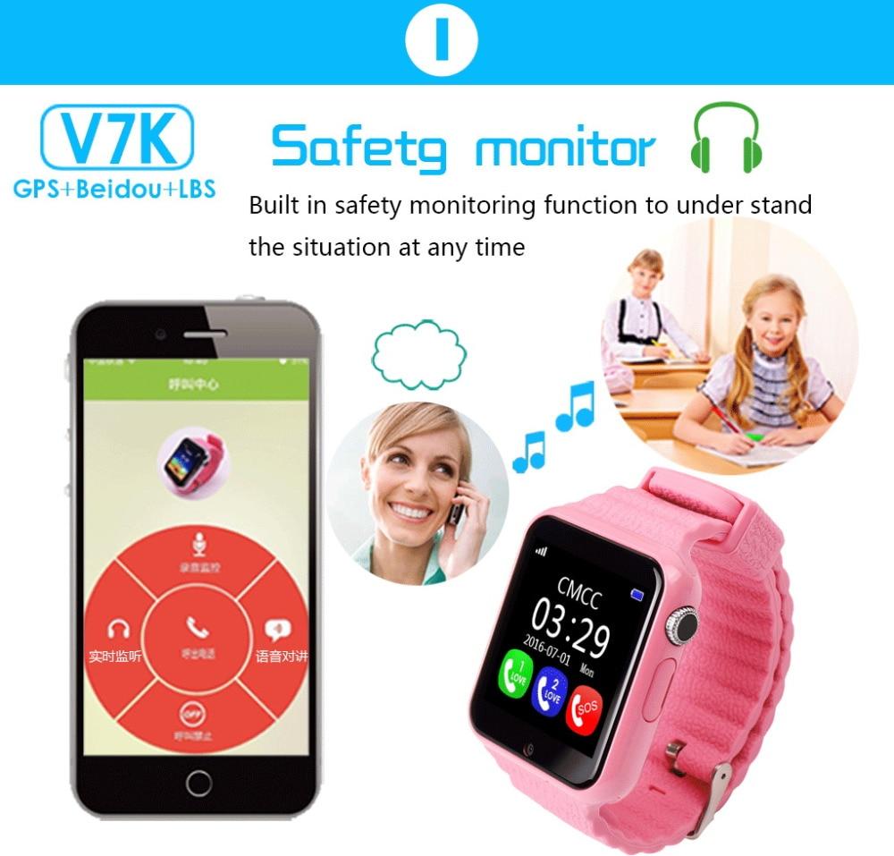 Enfants montre intelligente V7K GPS Smartwatch écran tactile avec caméra SOS localisation dispositif Tracker enfant coffre-fort enfants montre PK Q730 Q90 - 3