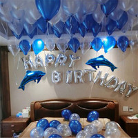 Happy Birthday Balloons Letter Set, Latex Baloons+Aluminium Foil ballon Blue Ocean Decoration Balloon Package Party Supplies