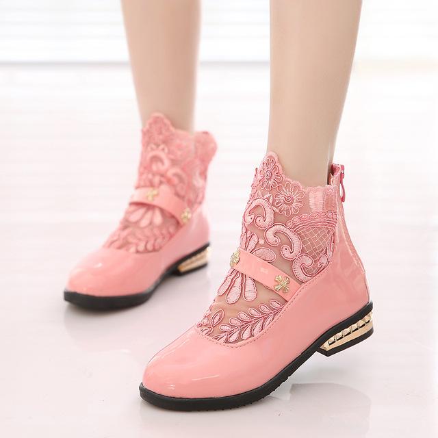 Meninas Princesa Sapatos de Couro PU 2016 Primavera & Verão Lace Flores Marca de Design Sapatos Estudante Crianças sapatos únicos sapatos de Bebê Meninas
