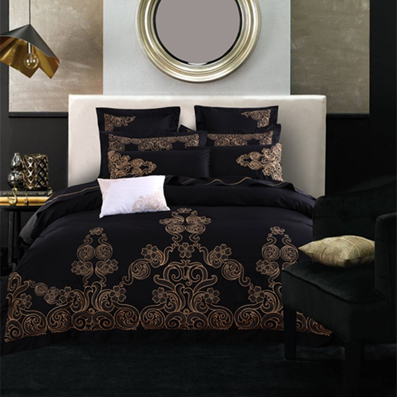 100%Cotton Luxury Embroidery Black Bedding Sets King Queen Size 4/6Pcs Duvet Cover Set BedSheet /Pillowcase bedclothes Bed cover