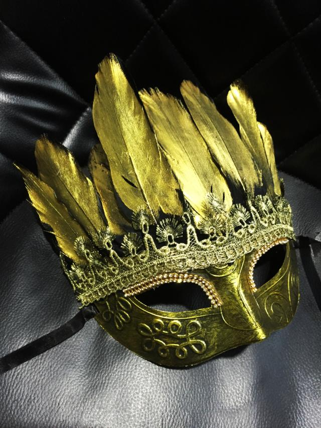 Baroque Golden Feather Lace Exaggerated Fashion Private Party Mask Mens