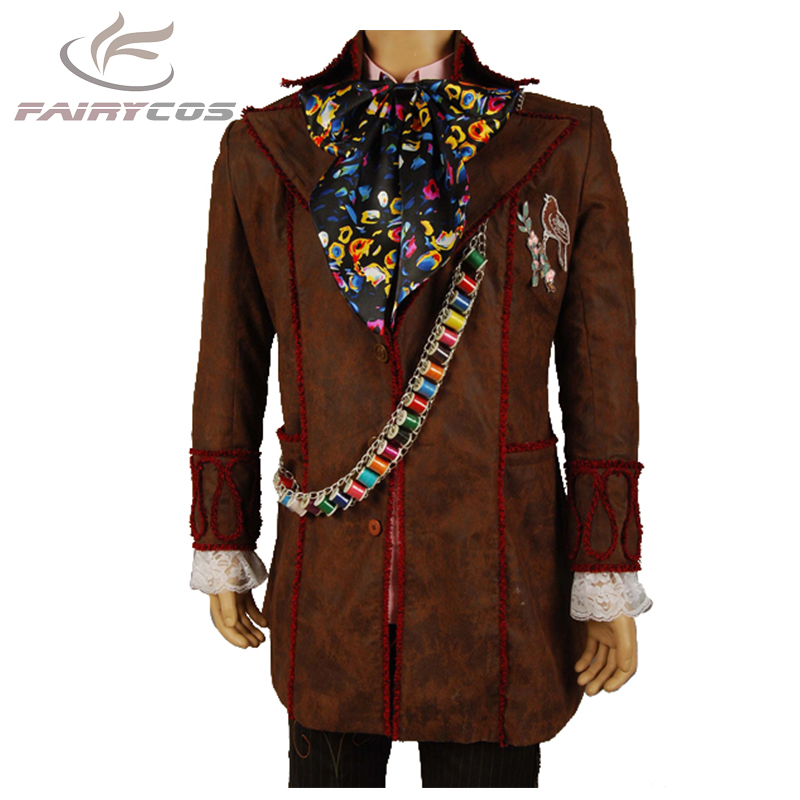 Alice in Wonderland Cosplay Costume Johnny Depp Mad Hatter Costume Adult Men Coat Outfit Halloween Cosplay Costume